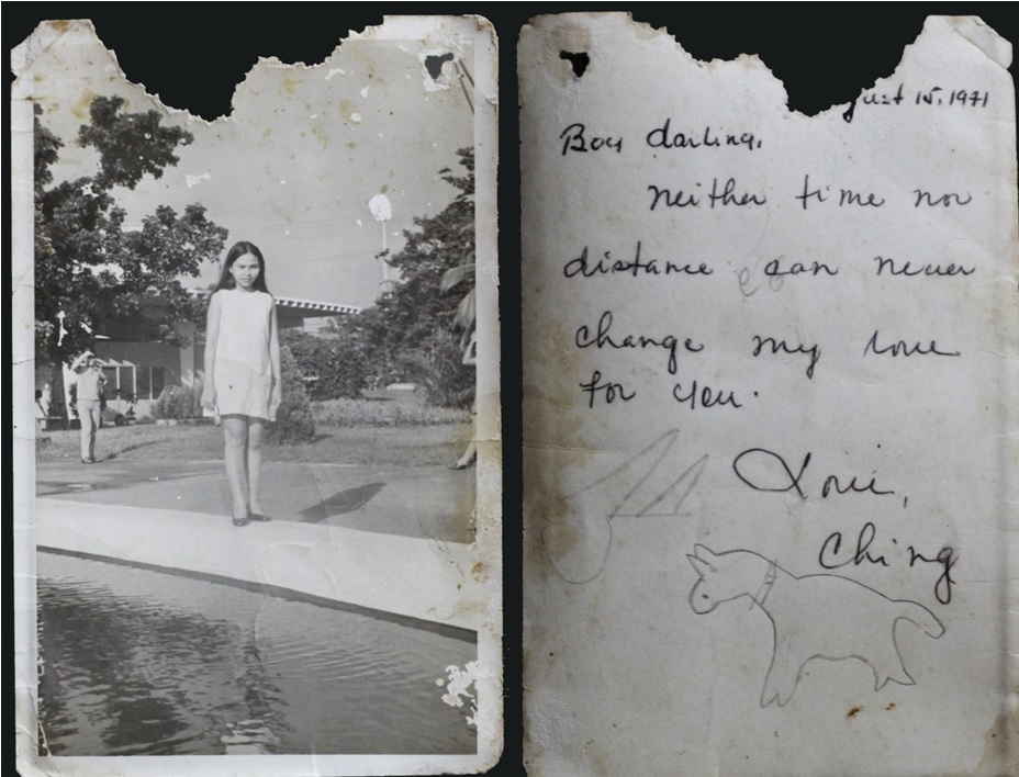 The photo and dedication Louie's mom gave to his dad. Take note of young Louie's drawing.