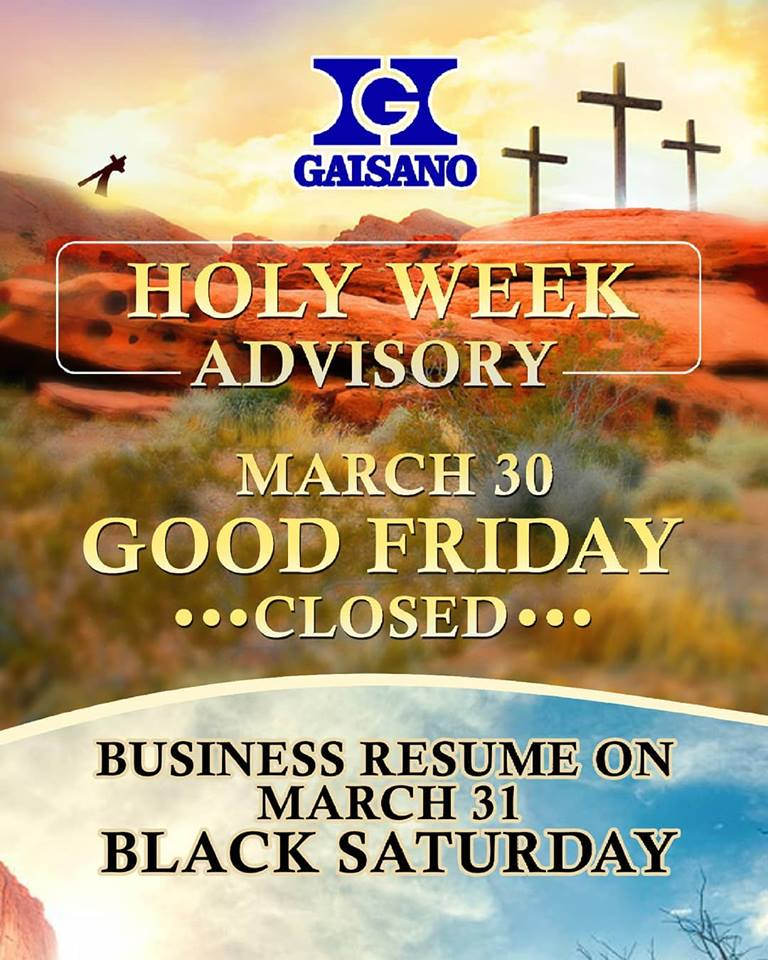Gaisano Holy Week Sched 2018