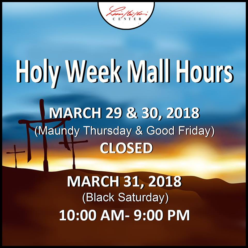 Limketkai Mall Holy Week Sched 2018