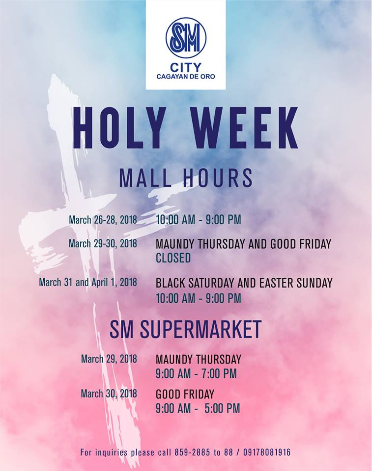 SM City Holy Week Sched 2018